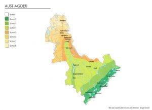 Klimasonekart for Aust-Agder