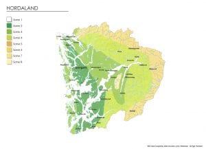 Klimasonekart for Hordaland