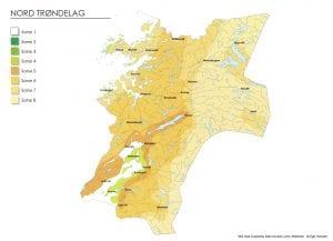 Klimasonekart for Nord-Trøndelag