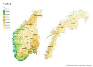 Klimasonekart for hele Norge
